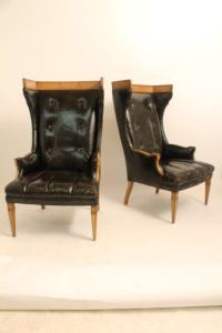 Pair of Mid-Century Italian Leather Sculptural Wingback ...