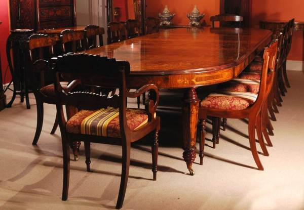 Victorian Marquetry Walnut Dining Table and 14 Chairs at