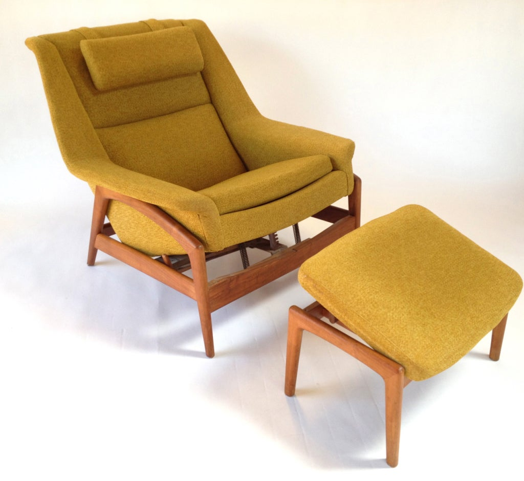 modern lounge chair and ottoman set executive staples danish by folke ohlsson