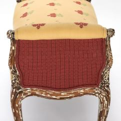 Country French Chairs Upholstered Double Camping Chair Bench With Arms Circa 1920s At