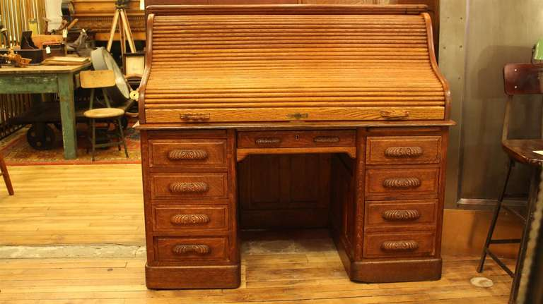 Antique Oak Roll Top Desk with Raised Panels SRoll Style