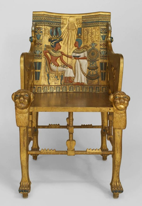Late 19th . Egyptian Revival Polychrome Carved Throne
