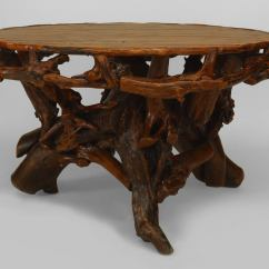 Adirondack Style Dining Chairs Rustic Bar Height Table And 20th C American Round Root Base