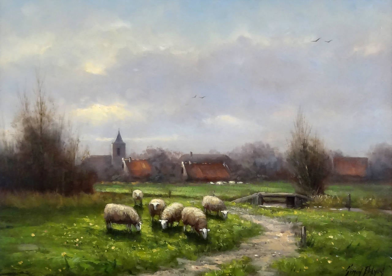 Simon Balyon  Sheep in the Meadow at 1stdibs