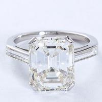 5.11 Carat Emerald Cut Diamond Platinum Engagement Ring ...