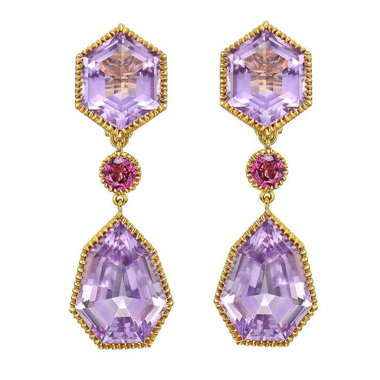 Verdura Byzantine Amethyst Pink Tourmaline Drop Earrings