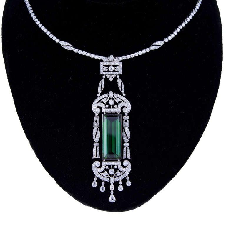 Superb Edwardian Dreicer & Co. New York Tourmaline Diamond Necklace image 3
