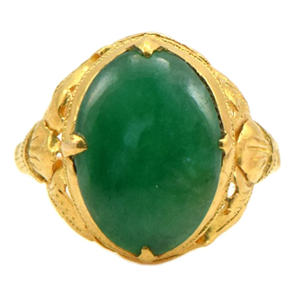 Oval Cabochon Jade Gold Ring at 1stdibs