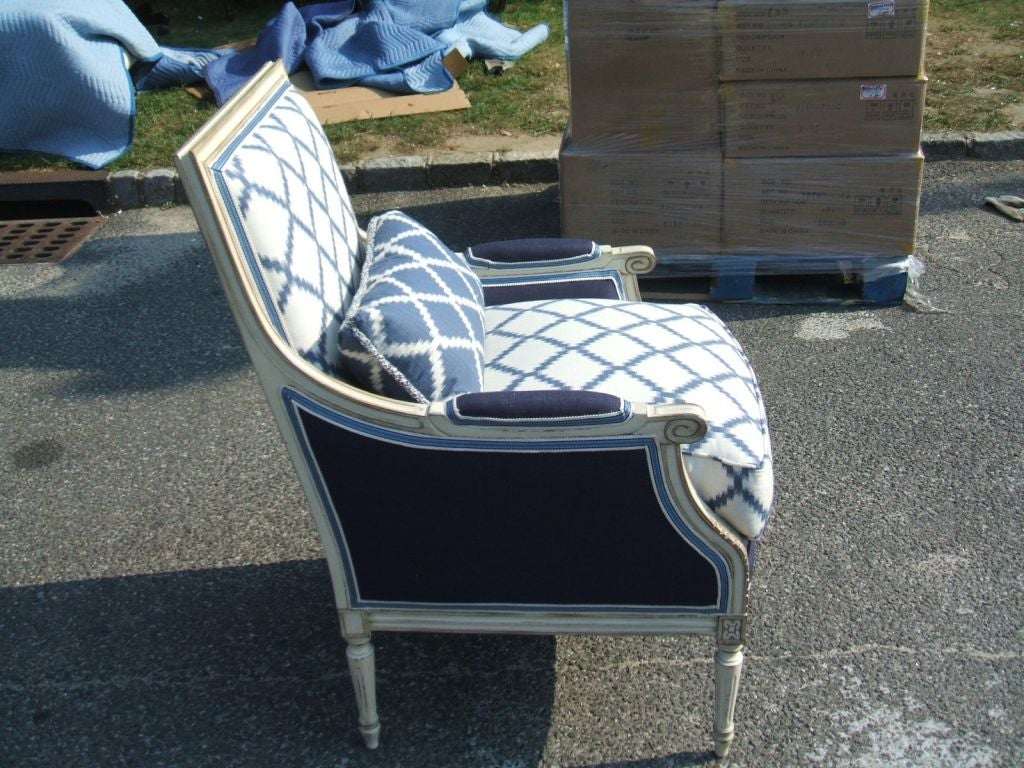 blue and white upholstered chairs racing desk chair uk at 1stdibs