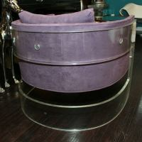 1970's MILO BAUGHMAN Lucite and Purple Ultra Suede Chair ...