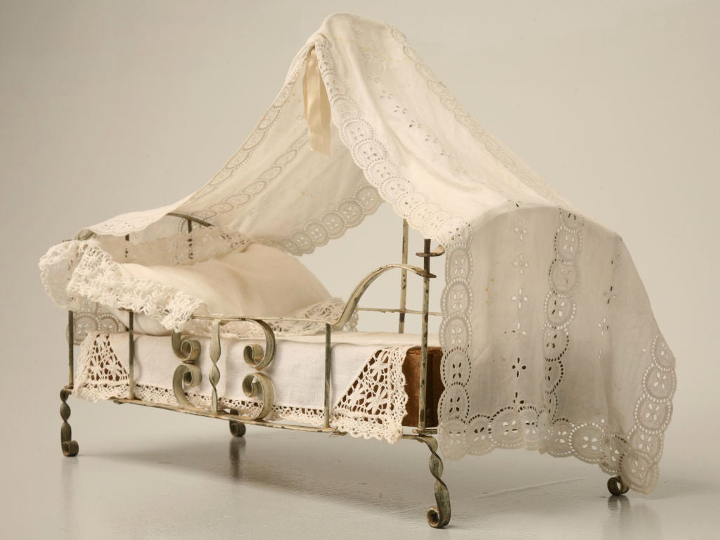 french canopy chair cosco baby c 1910 hand formed metal doll bed w at 1stdibs