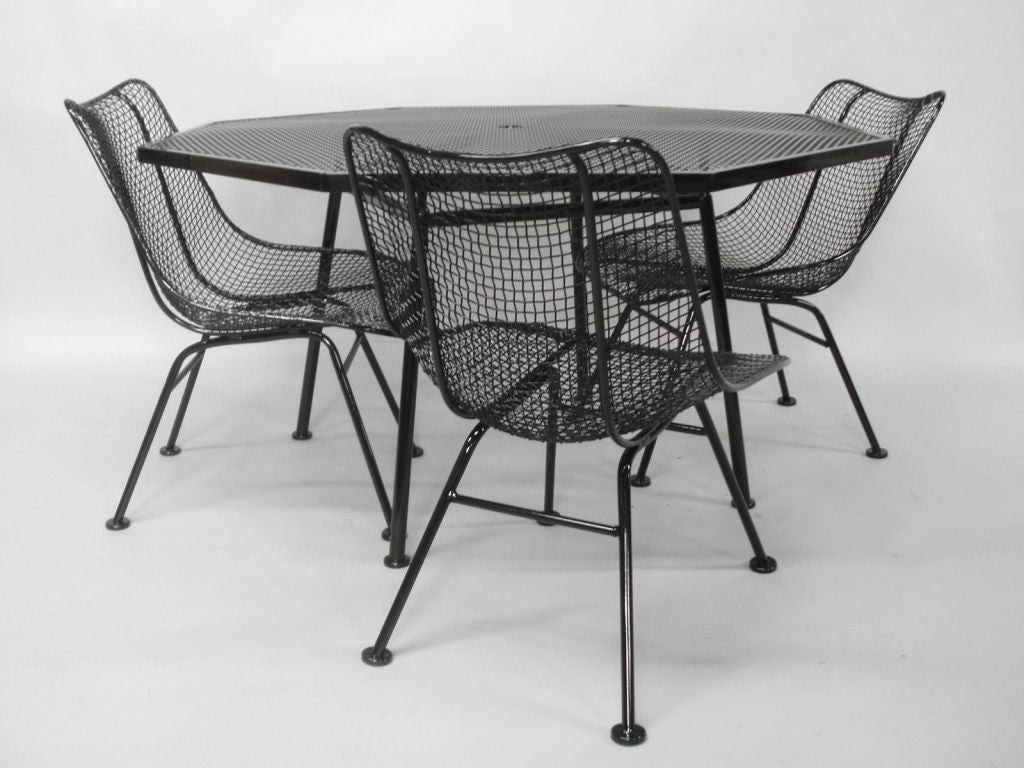 Wrought Iron Table And Chairs Wrought Iron And Mesh Table With Chairs By Russell Woodard
