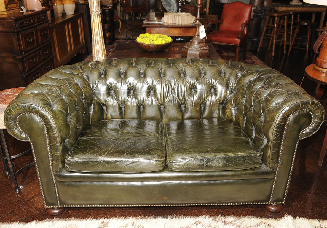 dark green leather sofa bernhardt sofas discounted chesterfield at 1stdibs