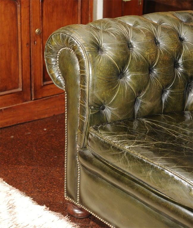 england furniture sofa city hours dark green leather chesterfield at 1stdibs
