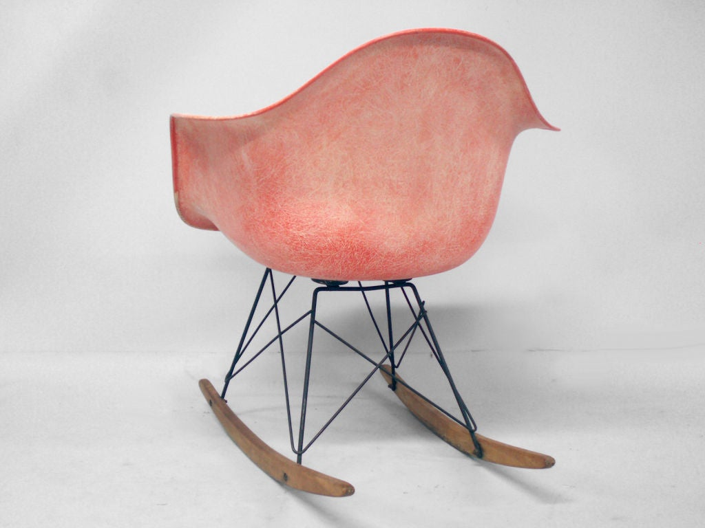 rope bottom chair heavy duty barber chairs an early eames edge rocker by charles and ray
