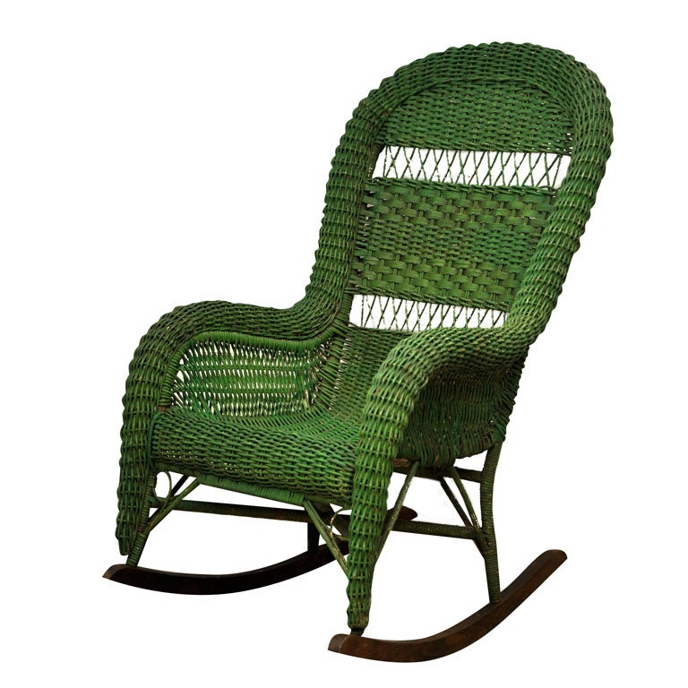 Vintage Wicker Rocking Chair at 1stdibs