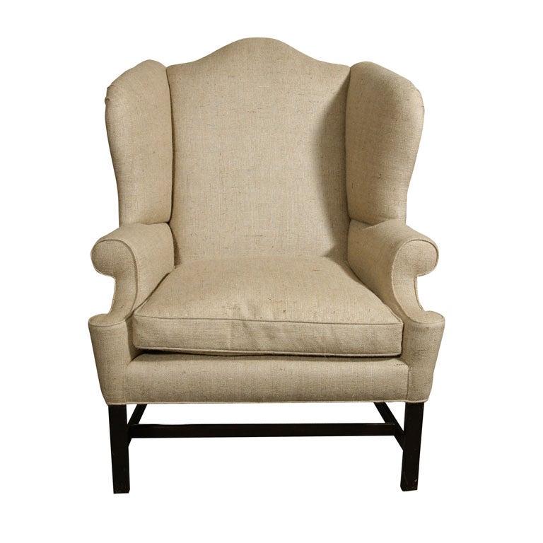 Oversized Wing Chair Mahogany Legs