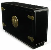 Mastercraft Black Lacquered and Brass Asian Inspired ...