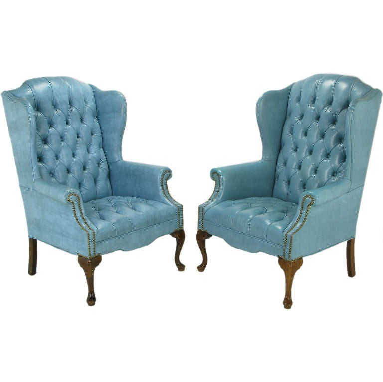 queen anne wingback chair leather eames side pair button-tufted columbia blue wing chairs at 1stdibs