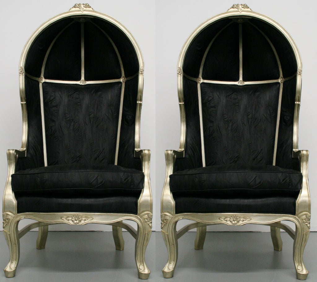 french canopy chair ground blind chairs pair of silver leaf leather hood at
