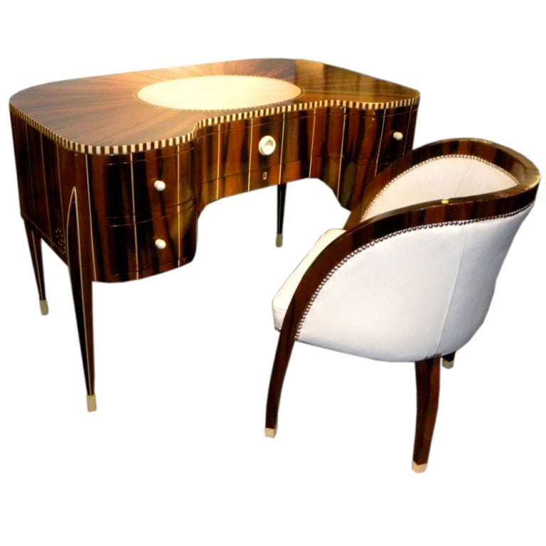 Awesome Art Deco Desk And Chair In The Style Of Ruhlmann