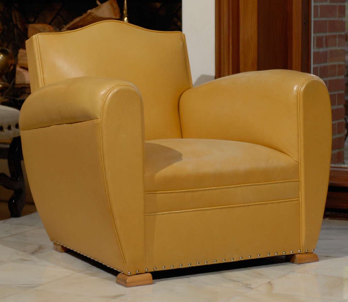 yellow club chair commercial grade office chairs handsome art deco in ochre leather at