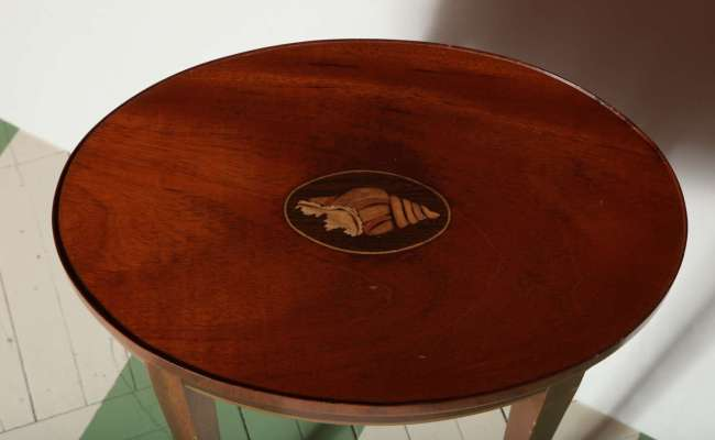 Vintage Baker Furniture Drinks Table With Inlaid Shell