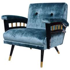 Deer Antler Rocking Chair Where To Buy Covers Nz Stunning Mid Century Blue Velvet And Black Lacquer