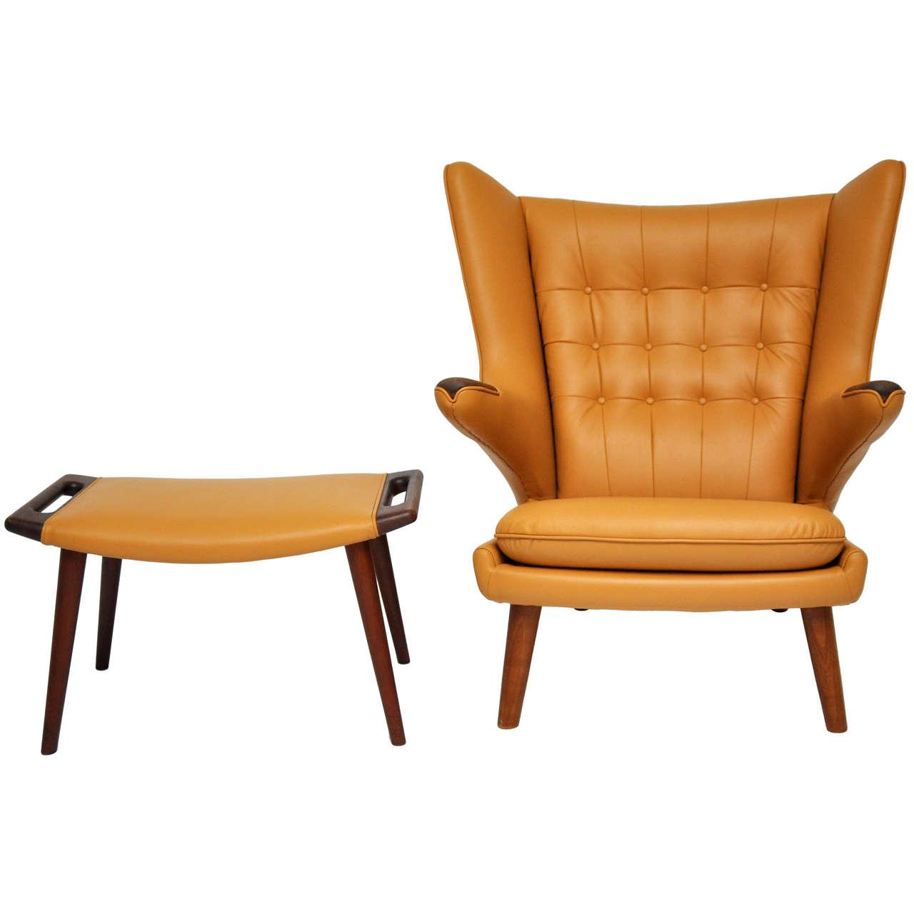 papa bear chair small folding hans wegner and ottoman