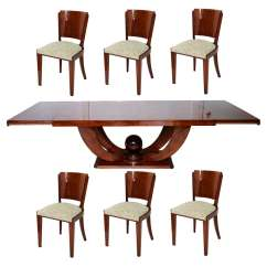 6 Chair Dining Set Eames Replica French Art Deco With Chairs At 1stdibs