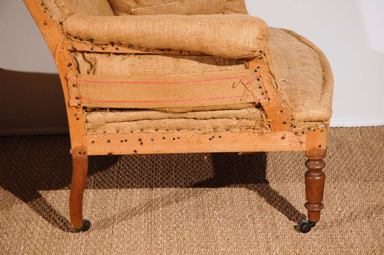 burlap sofa chair make wingback slipcovers antique french chairs original and horsehair at