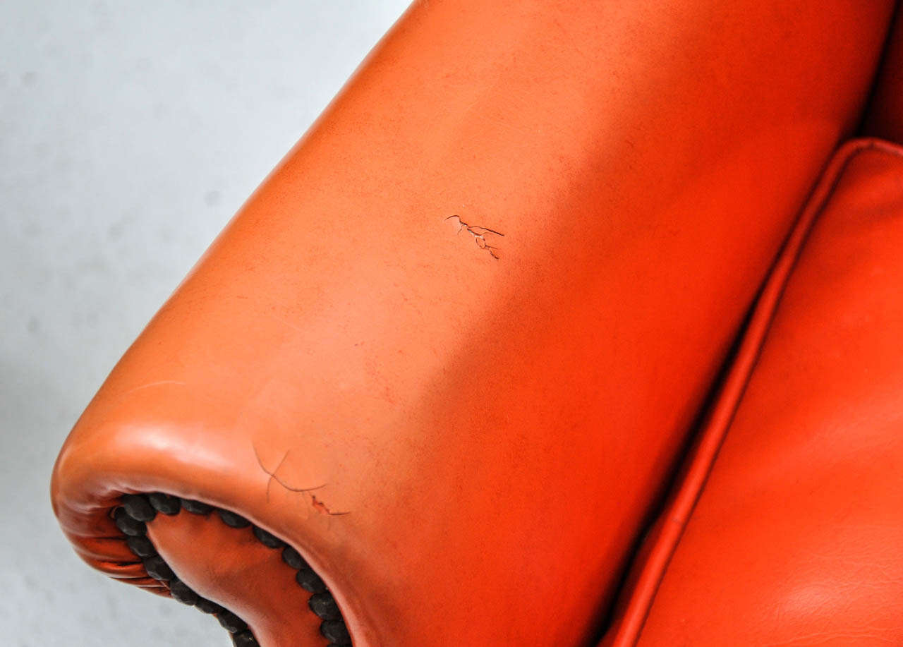 Orange Wingback Chair Vintage Orange Leather Wing Chair At 1stdibs