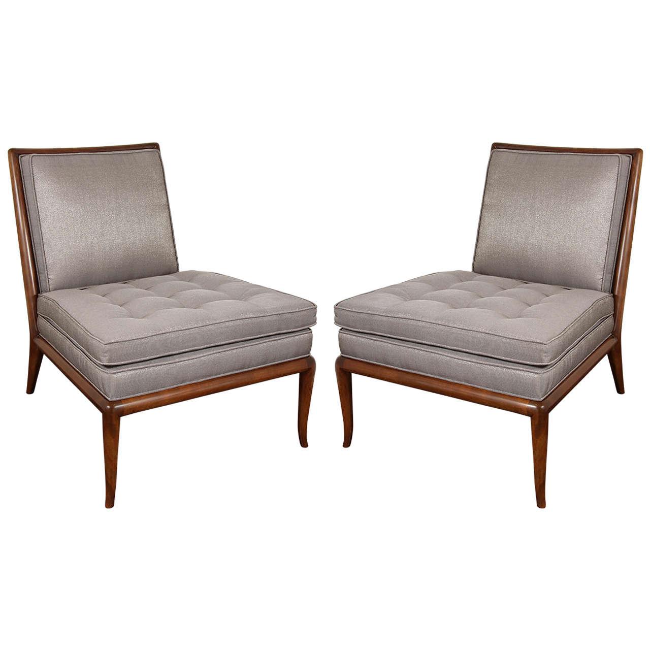 upholstered slipper chair banquet covers black pair of t h robsjohn gibbings chairs