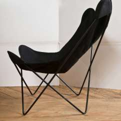 Canvas Sling Chair Wicker Office Pair Of Hardoy Chairs In Black Cotton At 1stdibs