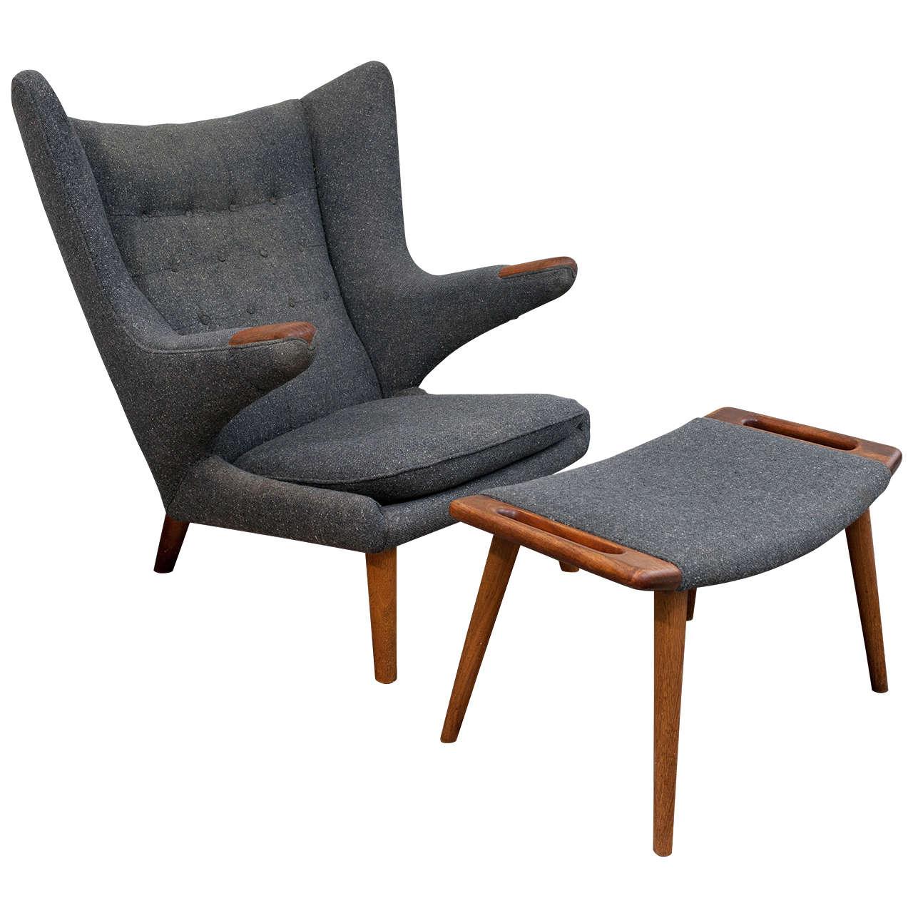 papa bear chair tempur pedic tp9000 ergonomic mesh mid back executive black vintage hans wegner and ottoman at 1stdibs