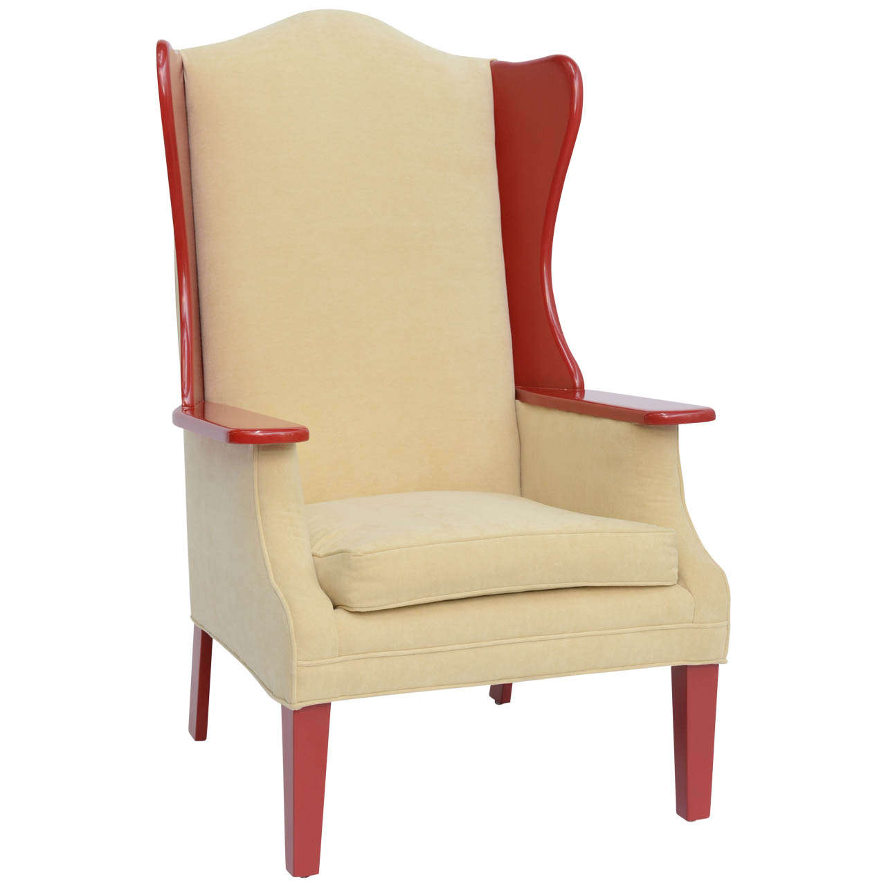 Modern Wing Chair 1950s Modern High Back Red Lacquered Wing Back Armchair At