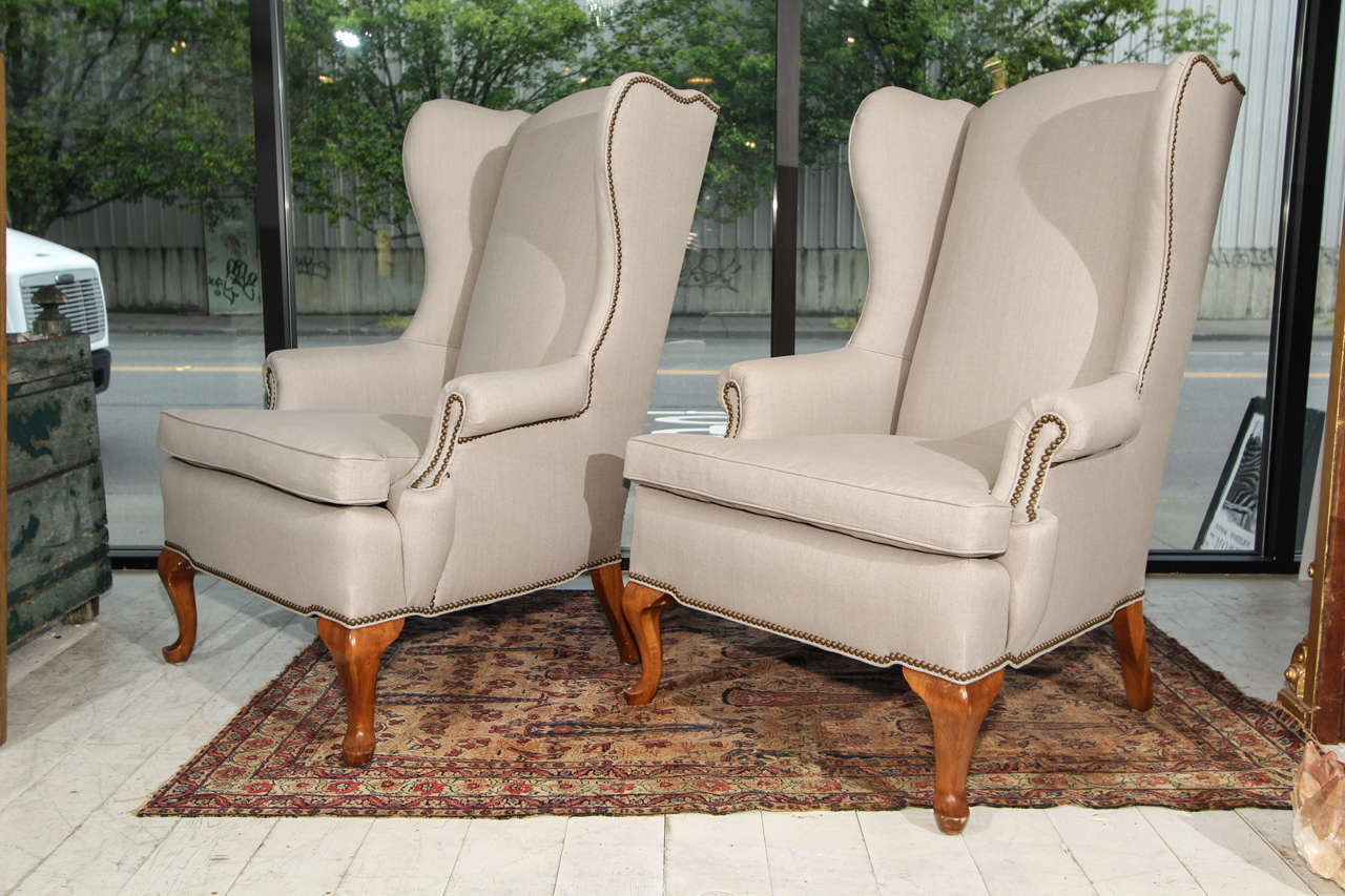 nailhead wingback chair wheelchair hire melbourne pair of grey linen and wing chairs at 1stdibs