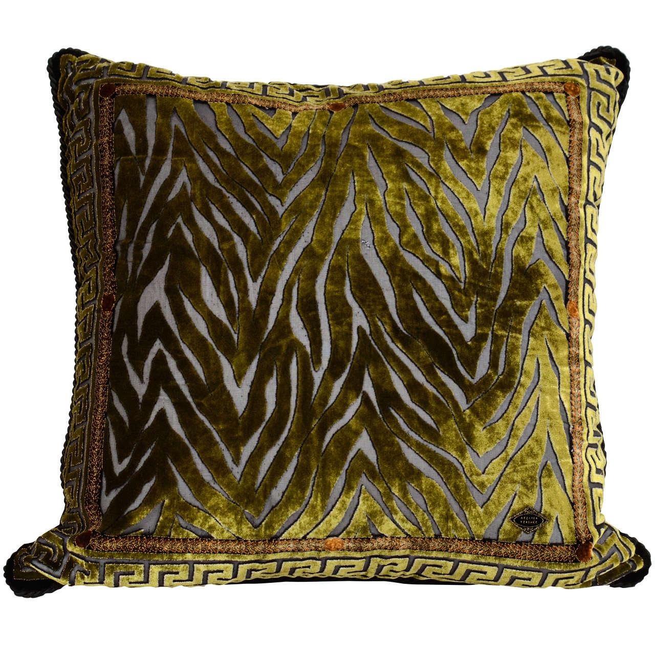 Vintage Atelier Versace Moss Green Velvet Pillow With