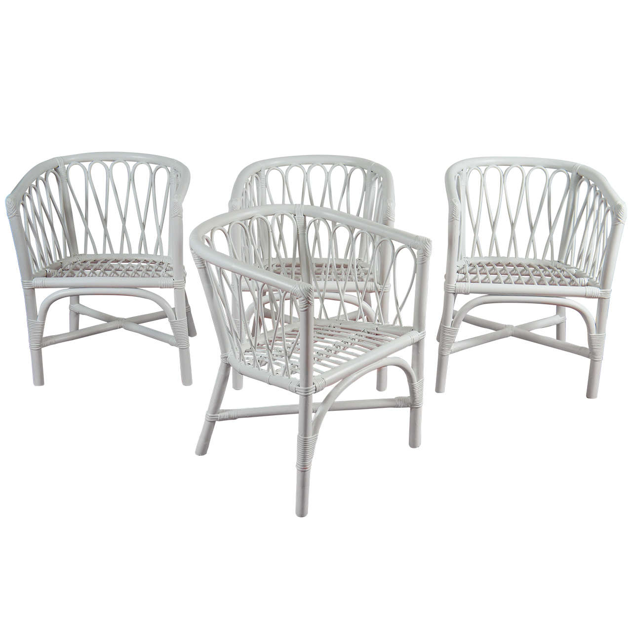 Set Of 4 Bentwood And Rattan Chairs At 1stdibs