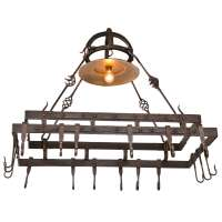 Wrought Iron Pot Hanging Pot Rack with Center Light at 1stdibs