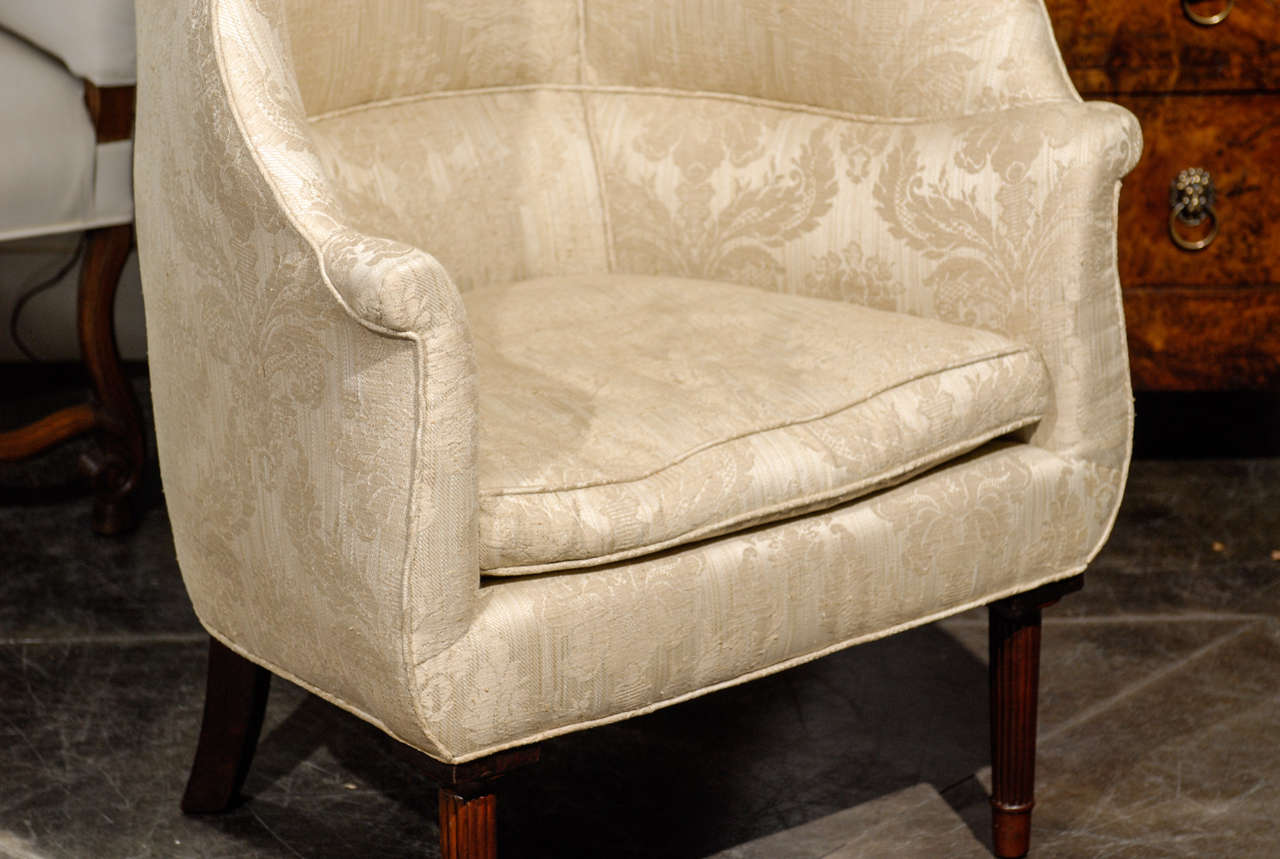 large wingback chair vintage rattan chairs barrel back wing at 1stdibs