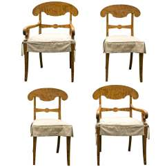 Tiger Print Dining Chairs Lean Back Chair A Set Of 4 Maple Biedermeier At 1stdibs