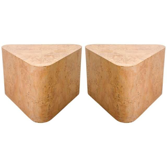 Midcentury Pair of Triangular Burled Wood Side Tables at 1stdibs