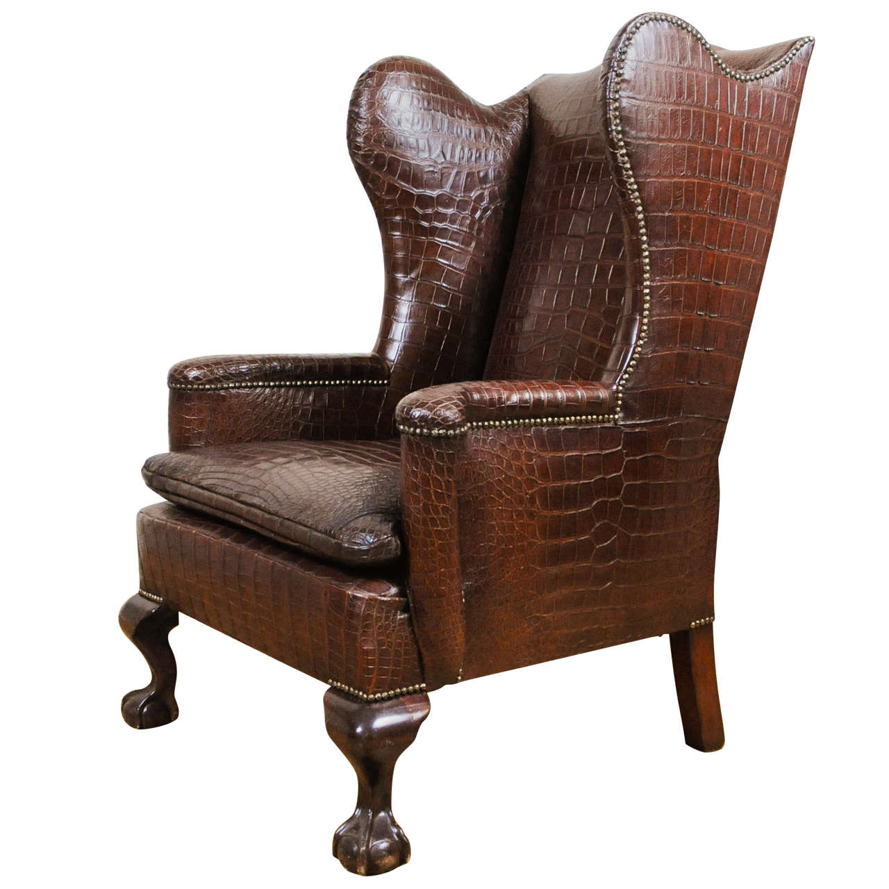 Unusual Chairs A Very Unusual And Chic Crocodile Upholstered Wing Chair