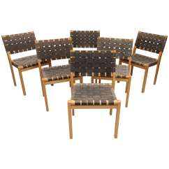 Woven Dining Chair Vintage Rattan Set Of Six Alvar Aalto Seat Chairs At 1stdibs