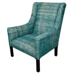 Teal Lounge Chair Hickory Indian Dhurrie Upholstered Arm At 1stdibs