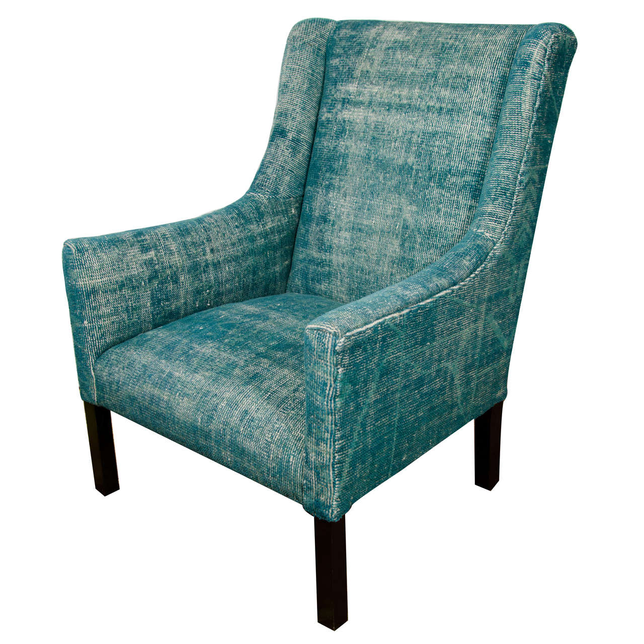 Teal Chair Indian Dhurrie Upholstered Teal Arm Chair At 1stdibs