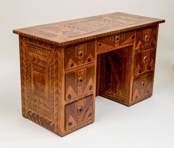 American Folk Art Marquetry Furniture Suite Of Five