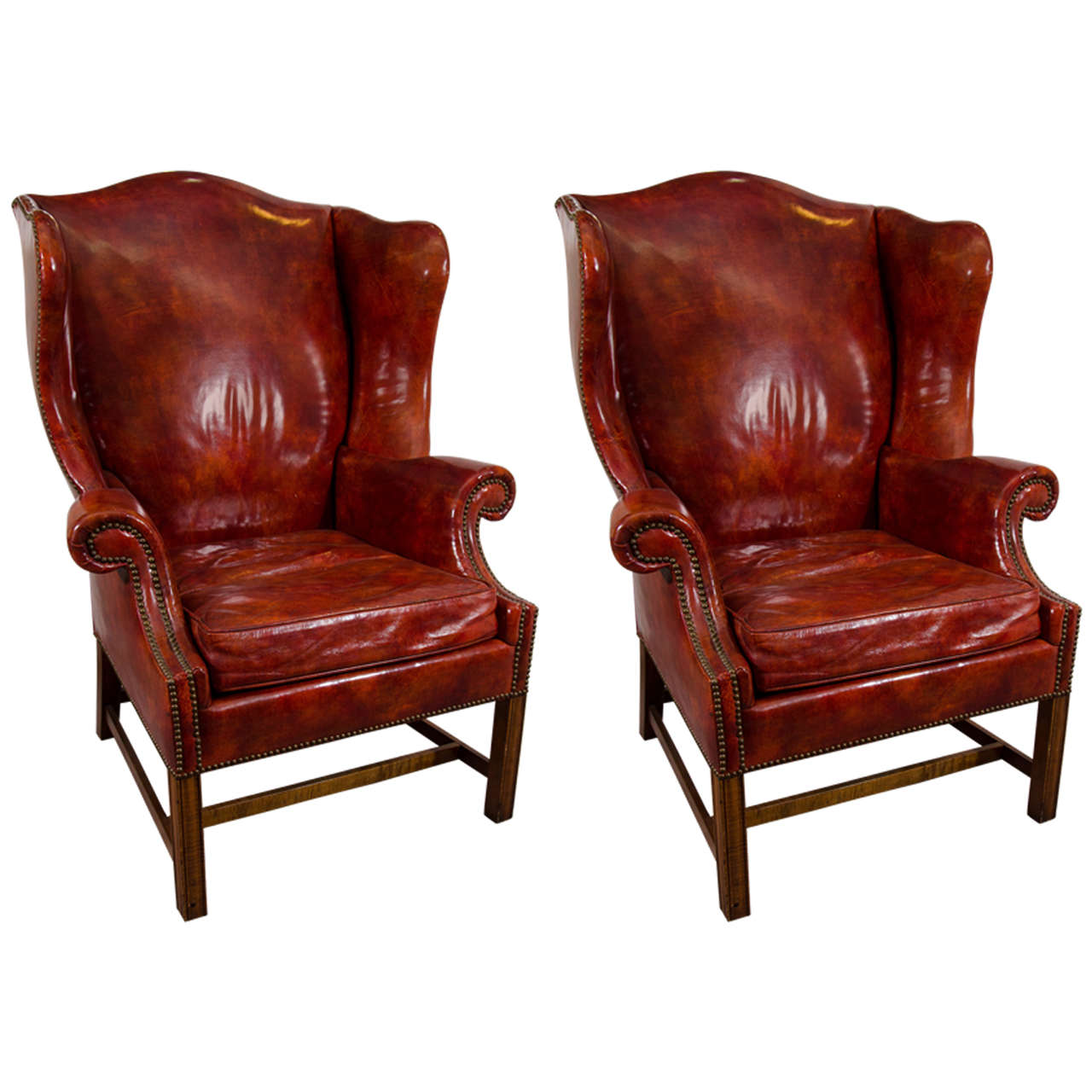 Midcentury Pair of Burgundy Leather Wing Chairs by Baker
