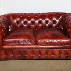 Loveseat Sleeper Sofa Leather Sydneyside Sofas Mahogany Red Chesterfield And